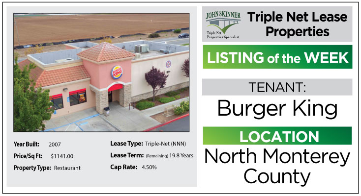 burger king for lease in salinas call john skinner capitola Ca